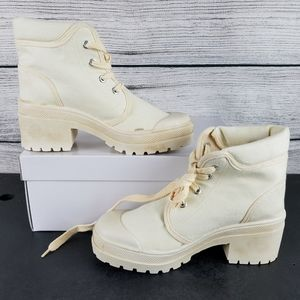 NEW CL Desert Canvas Heeled Ankle Boots Size 5.5 M